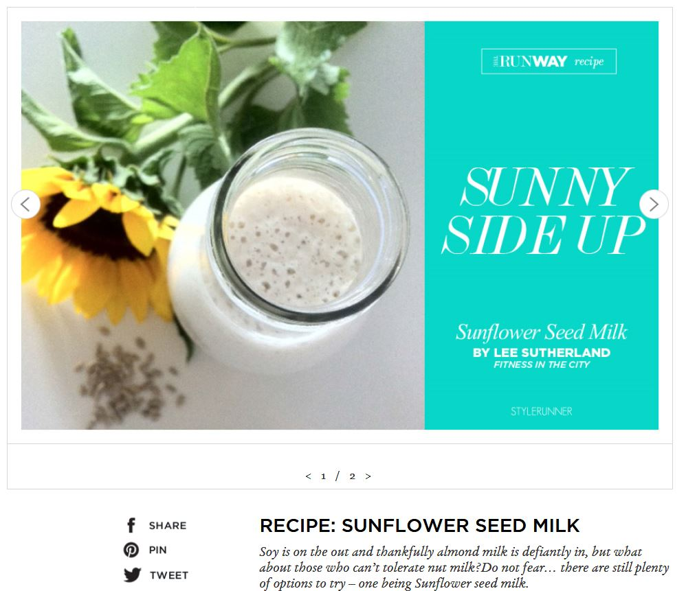 Stylerunner: sunflower seed milk recipe