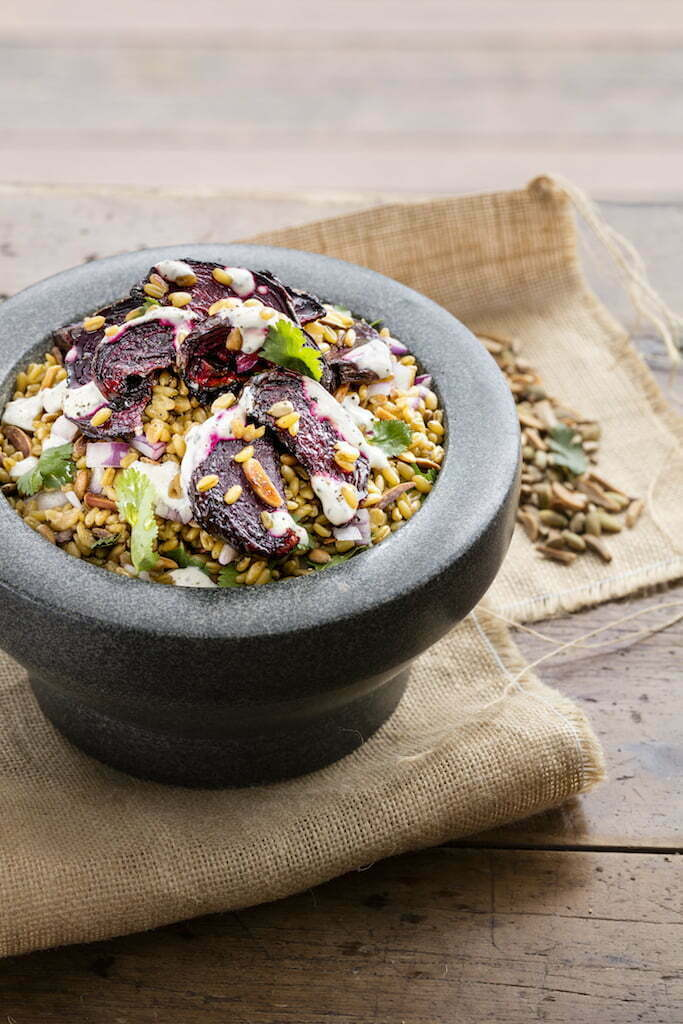 Falling In Love With Food: Freekeh Salad with Roasted Beetroot, Coriander & Lime